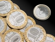 Free Coins Roubles And Euro Stock Photos - 32406783