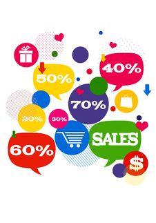 Sales Shopping Icons Royalty Free Stock Photo