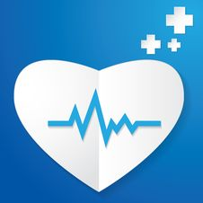 Paper Heart And Pulse Royalty Free Stock Photo