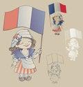 Free Cute Smiling Cartoon Girl In Sans Culottes Costum Stock Photos - 32427633