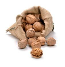 Free Walnuts And A Bag Royalty Free Stock Images - 32433209