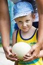 Free Little Boy Holding An Ostrich Eggj Royalty Free Stock Photo - 32454635
