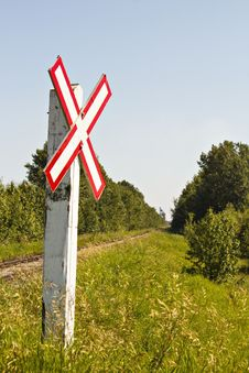 Train Crossing Sign Royalty Free Stock Photo