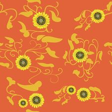 Free Sunflower Flower Seamless Orange Background Stock Photo - 32453490