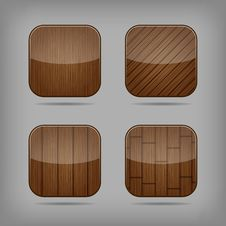 Free Vector Wooden Buttons Set Royalty Free Stock Photography - 32457387