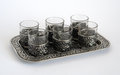 Free Silver Wine-glasses With Pattern On A Tray Royalty Free Stock Photography - 32467777