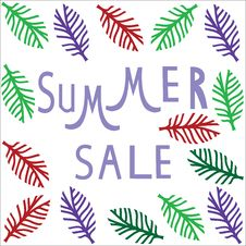 Free Summer Sale Template,  Summer Fashion Sale,  Summe Stock Images - 32461234