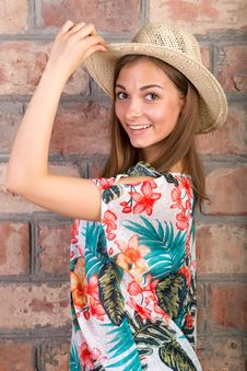 The Beautiful Girl In A Summer Hat. Studio Portrait Royalty Free Stock Photos