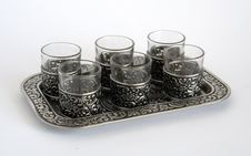 Silver Wine-glasses With Pattern On A Tray Royalty Free Stock Photography