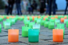 Colored Candles On The Pavement