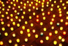 Free Lighted Candles On The Pavement At Night Stock Photos - 32467923