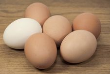 Free Brown And White Eggs On Grained Wood Royalty Free Stock Image - 32469096