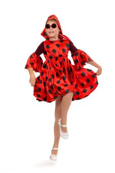 Free Teen Girl Dancing In A Red Polka-dot Dress With Sunglasses Royalty Free Stock Photography - 32469197