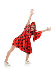Free Teen Girl Dancing In A Red Polka-dot Dress Royalty Free Stock Photos - 32469198