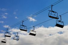 Chair Lift, Cableway On Blue Sky