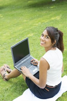 Free Smile Businesswoman With Computer In The Park. Stock Photo - 32479530