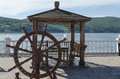 Free Wooden Arbor With Table And Decorative Helm On The Angara River Shore Stock Images - 32486154
