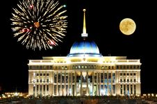 Celebration! Astana Landmark With Full Moon And Fireworks Royalty Free Stock Photo
