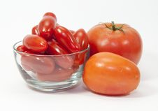 Free Three Types Of Tomatoes And A Glass Bowl Royalty Free Stock Photo - 32496235
