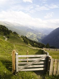 Wooden Gate In Austrian Alps Royalty Free Stock Image