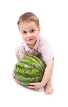 Free Boy And The Water Melon Royalty Free Stock Image - 3252846