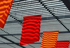 Red And Orange Flags Royalty Free Stock Photography