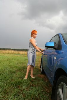 Red-haired Woman In Dress With Stock Photography