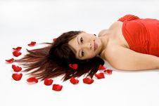 Beautiful Asian Women Lying Am Royalty Free Stock Image