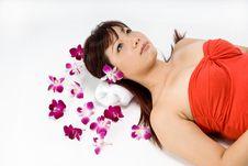 Beautiful Asian Women Lying Am Royalty Free Stock Photography