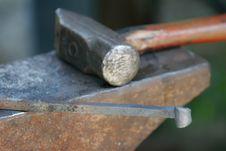 Free Blacksmith S Hammer And Iron Stock Image - 3256721