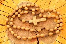 Free Wooden Rosary On Wood Stock Photo - 3257230