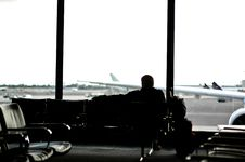 Waiting For His Plane Royalty Free Stock Image