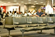 Waiting For His Plane Royalty Free Stock Photography
