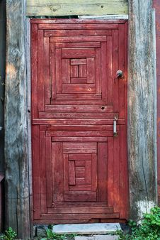 Free Old Rural Door Of Red Color Royalty Free Stock Photo - 32501005