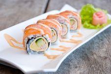 Salmon Sashimi Roll Stock Photography