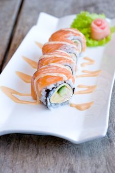 Samon Sashimi Roll Royalty Free Stock Photo