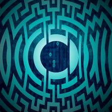Blue Labyrinth Circle Structure On Tech Backdrop Stock Photos