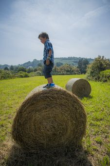 Free Boy On Round Hay Bale Stock Photography - 32549832