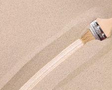 Free Strip In The Sand Drawn Paintbrush Stock Photos - 32571953