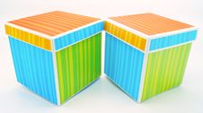 Two Striped Gift Boxes Pair Isolated Stock Photos