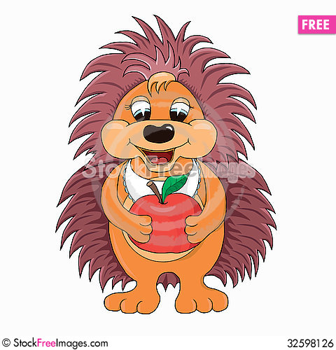 Free Hedgehog With Apple Royalty Free Stock Image - 32598126