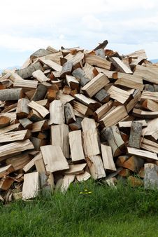 A Big Pile Of Firewood Royalty Free Stock Image