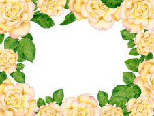 Free Hand-drawn Frame With Golden Roses Stock Photo - 32590320