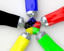 Free Colour Tubes Stock Photography - 32595822