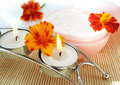 Free Cream And Candle With Flowers Stock Photos - 3260613