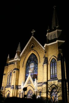 Free Pittsburgh Church At Night Stock Photo - 3261170