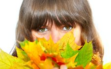 Free Girl With Maple Leaves Royalty Free Stock Photography - 3261367