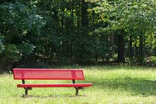 Free Red Bench In Park Stock Photo - 3261420