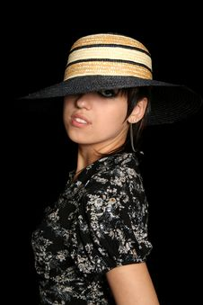 Free The Young Girl In A Straw Hat Stock Images - 3262434