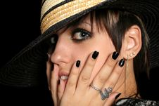 Free The Young Girl In A Straw Hat Stock Photography - 3262452